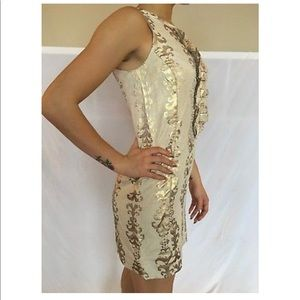Tory Burch Gold Brocade Linen Shift Dress size 2